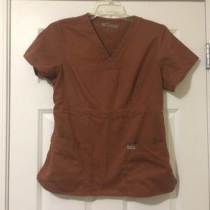 Size Large Brown Rust Grey's Anatomy Scrub Top